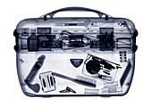 Vanity case with contents, X-ray