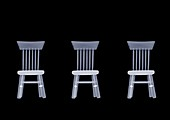 Three doll's house chairs, X-ray