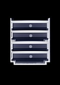 Doll's house four drawer chest, X-ray