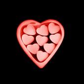Heart shaped chocolates in a box, X-ray