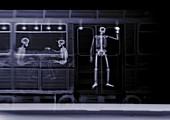 Train with three passengers, X-ray