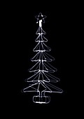 Wire festive tree with a star on top, X-ray