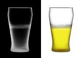 Pint of beer half full, X-ray