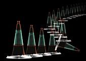Traffic cones, X-ray