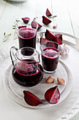 Pickled beetroot juice with garlic