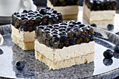 Cream cake with blueberries in jelly