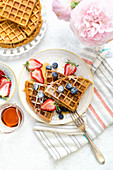 Healthy breakfast waffles with fresh berries