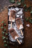 Vegan coconut and chocolate ice cream sticks