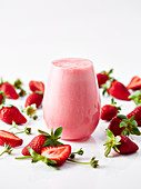 Strawberry smoothie with milk