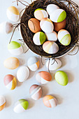 Colourful Easter eggs with geometric patterns