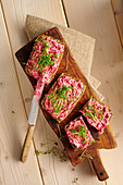 Seeded bread with beetroot spread and cress