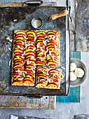 Nectarine, coconut and lime tray-tart