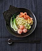 Salmon and prawn ramen with nori