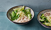 Exotic Thai ramen with chicken and green vegetables