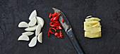 Knoblauch, Chili und Ingwer