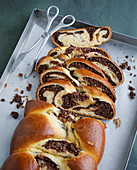 Yeast plait with hazelnuts