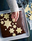 XXL praline cake with marzipan stars