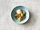Iced noodle bowl with a sesame seed dressing