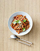 Vegan pasta with oven-roasted tomatoes and peppers