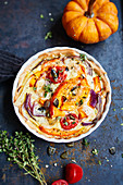 Pumpkin quiche with red onions