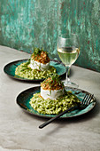 Herb risotto with gratinated goat's cheese