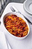 Tajarin (tagliatelle with a veal sauce, Italy)