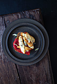 Toast with roasted peppers and smoked cheese