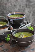 Creamy zucchini soup in cups