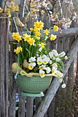Küchensieb bepflanzt mit Narzissen, Hornveilchen und Traubenhyazinthen österlich dekoriert mit Holzvögeln und Ostereiern