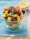 Pasta salad with octopus