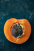 Half a Wachauer Marille (Wachau apricot) with stone