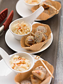 Grilled white sausages with creamy chilli cabbage