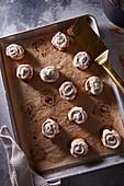 Mini cinnamon buns on pan