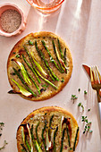 Two asparagus and leek tarts