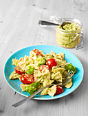 Farfalle with broccoli pesto and cherry tomatoes