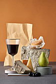 Red wine and cheese still life