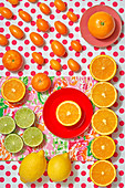 Various citrus fruit - lime, lemon, orange, mandarine and kumquats