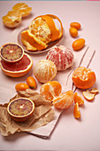 Various citrus fruit mandarine, pink graefruit, kumquat, orange and blood orange