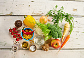 Ingredients for crudités with dressing