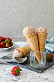 Strawberry nice cream in icecream cone