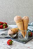 Strawberry nice cream in icecream cone