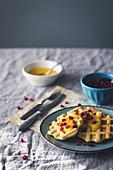 Waffles with mango and pomegranate