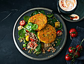Lentil meatballs with spinach salad