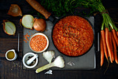 Lentil stew with carrots, onions and garlic