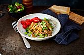Pasta with edamame and broccoli