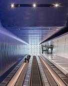 Escalators in a metro station, Helsinki, Finland