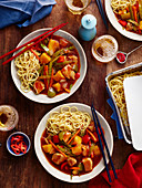 Chicken sweet and sour with noodles (China)