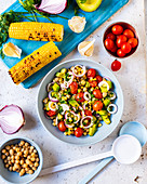 Barbecued corn salad