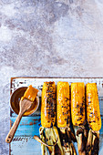 Barbecued corn cobs