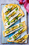Barbecued flatbread with courgette